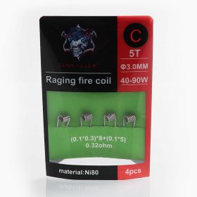 Demon Killer Raging Fire Coil C Ni80 Heating Wire - (0.1 x 0.3) x 8 + (0.1 x 5), 0.32 Ohm (4 PCS)